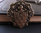 Coat of Arms antiqued brass stamping jewelry supplies