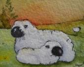 Art Card of Sheep Original Watercolor Original Artist Trading Card Original Art Cards