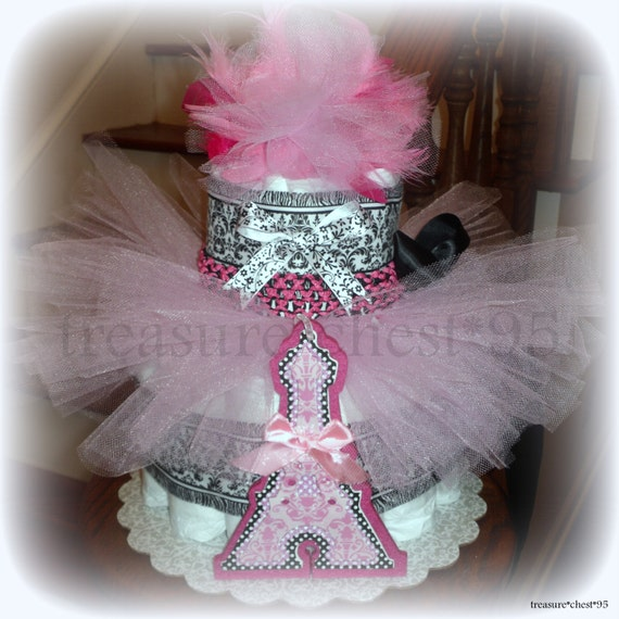 Parisian Diaper Cake Baby Shower Tutu French Paris Pink Girl