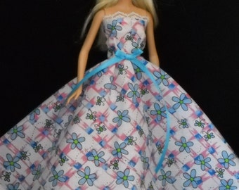 White and Pink with Blue Flowers and Lace Gown Barbie Doll Dress Handmade