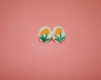 Tiny Yellow Flower Cameo Earrings