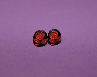 Tiny Black & Red Rose Cameo Earrings