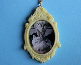 Yellow Frankenweenie Weird Girl Cameo Necklace
