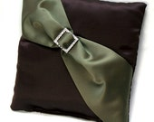 Chocolate Brown Satin Ring PIllow with Olive Satin Sash