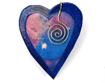 Blue and Pink Heart Brooch Mauve Watercolor Paper Jewelry Abstract Wearable Art Pin