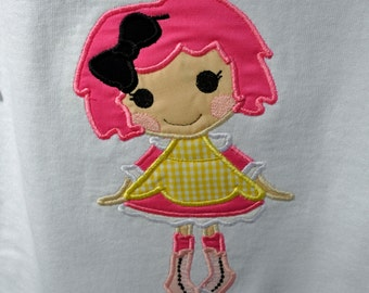 Lala Loopsy doll applique on toddler shirt with name applique