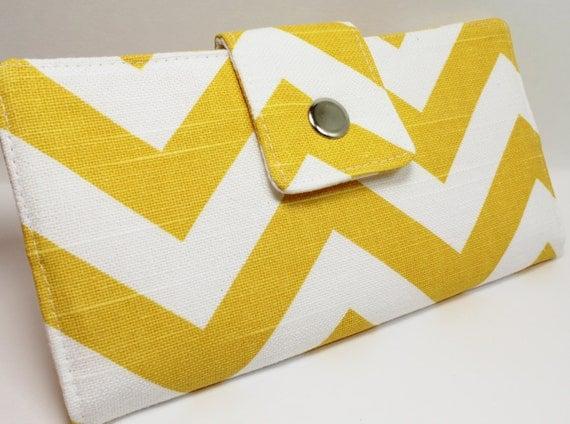 Handmade Long Wallet  BiFold Clutch - Vegan Wallet - Chevron Zig Zag yellow