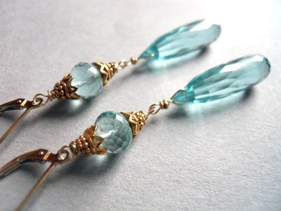 Blue Skies Smiling at Me Aqua Drop Gold Vermeil Earrings