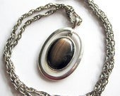 Mod Vintage Pendant / Silver Circles with Brown Glass Center and Chunky Chain