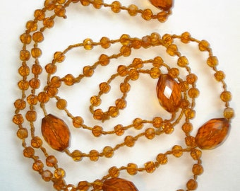 Vintage 20s Czech Crystal Faceted Amber Glass Lariat Flapper Girl Gatsby Necklace