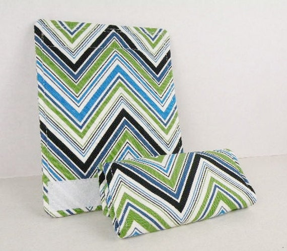 Luggage Handle Wrap-Suitcase Identifier Set of (2)  Green, White and Blue CHEVRON ZIG ZAG