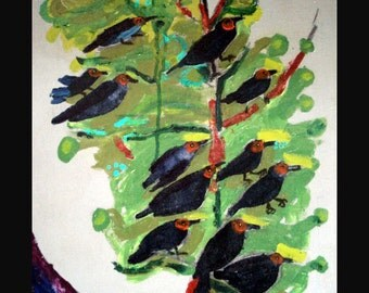 outsider EMERY original painting 'chanting birds'