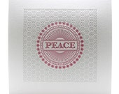 Set of 6 - Christmas Card Letterpress Silver Magenta Peace Holiday Cards Set of Six