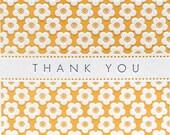 Letterpress Thank You Note Card Cherry Blossom Flower Orange Purple