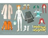 The Kate Winslet (Eternal Sunshine's Clementine Kruczynski) paper doll 18x12 inches print