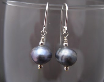 Creamy Light Blue Freshwater Pearl Earrings June Birthstone