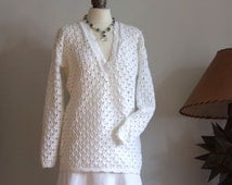 Summer cotton sweater, pure white organic cotton sweater, loose fit white sweater, open work knit wedding sweater, V-neck knitted tunic