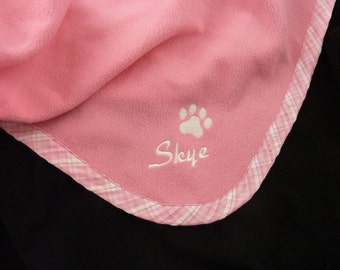 Pet  Blanket  Personalized   Pink Plaid