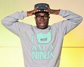 I Am A Ninja Crew Neck Sweater - Light Heather Grey / Seafoam - Unisex Sizes XS, S, M, L