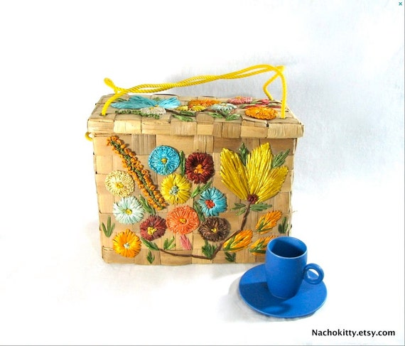 1950s Purse, All Natural Woven Handbag Flowers