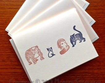 Community Veterinary Clinic / Pets card, set of four (hand printed)