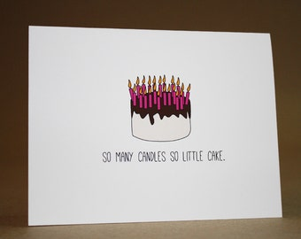 Funny Birthday Card- happy birthday card, funny, over the hill, birthday cake, so many candles so little cake, birthday candles, cute