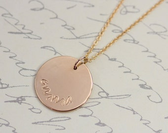 Hand Stamped Gold Initial Necklace, Personalized Handmade Jewelry