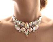 Simple Crystal AB Rhinestone Bib Necklace, Small Jeweled Bib, Clear AB Necklace