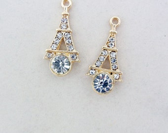 Pair of Gold-tone Rhinestone Eiffel Tower Charms