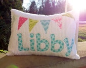 Bunting Flags Personalized Pillow for Girls and Teens