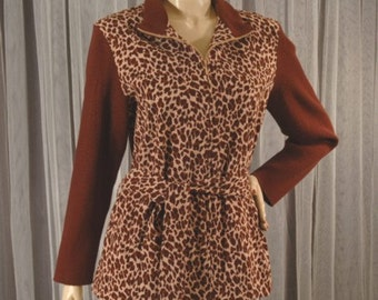 Vintage Leopard Print Zip Jacket Size 14 b48