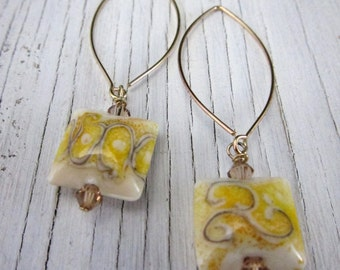 Yellow Glass Earrings, Lampwork Bead Earrings, Boho Chic, Long Earrings, Murano Glass Jewelry, Dangle Earrings, Handcrafted Jewelry