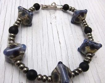 PURPLE Lampwork Pyrite Onyx Bracelet