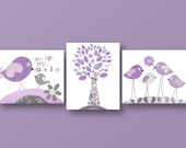 Baby nursery art nursery wall art nursery print kids art love tree Birds purple gray  You are my sunshine Set of three prints