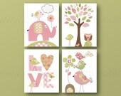 Girl Nursery Art baby Girl Room Decor children kids art pink green elephant Birds Set of 4 prints