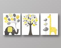 Nursery art print Nursery wall decor baby nursery decor Children Kids art yellow gray elephant giraffe bird Tree - Set of three prints