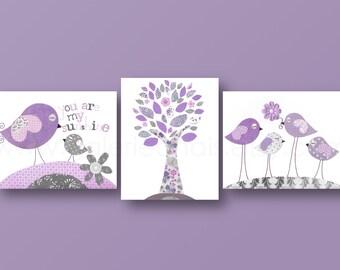 Baby nursery art nursery wall art nursery print kids art love tree Birds purple gray  You are my sunshine Set of three prints
