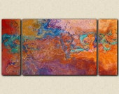"""Oversize contemporary triptych, 30x60 to 40x78 canvas print in rust, copper and turquoise, from abstract painting """"Southwestern Archetype"""""""