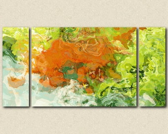 "Large triptych art stretched canvas print, 30x60 to 40x78, abstract expressionism in orange and green, from abstract painting ""Best Friends"""