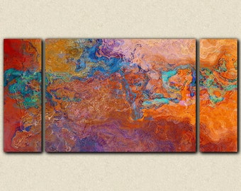 "Oversize contemporary triptych, 30x60 to 40x78 canvas print in rust, copper and turquoise, from abstract painting ""Southwest Archetype"""
