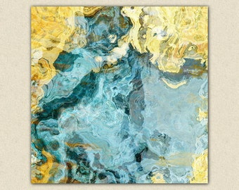 "Contemporary art abstract giclee canvas print with gallery wrap, 24x24 to 36x36 in yellow and aqua, from abstract painting ""Sea and Sand"""