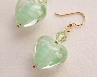 Green Glass Heart Earrings with Swarovski Crystal