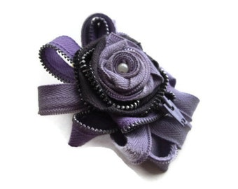 Unique Lavender And Grey Wearable Art Statement Brooch Gift For Her Corsage Millinery Sash embelishment handmade Vintage Zippers And Pearls