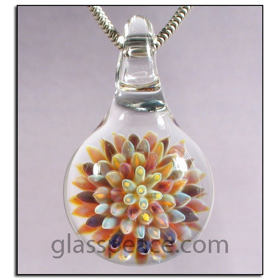 Glass Pendant Anemone Necklace Focal lampwork - Glass Peace glass jewelry (4462)