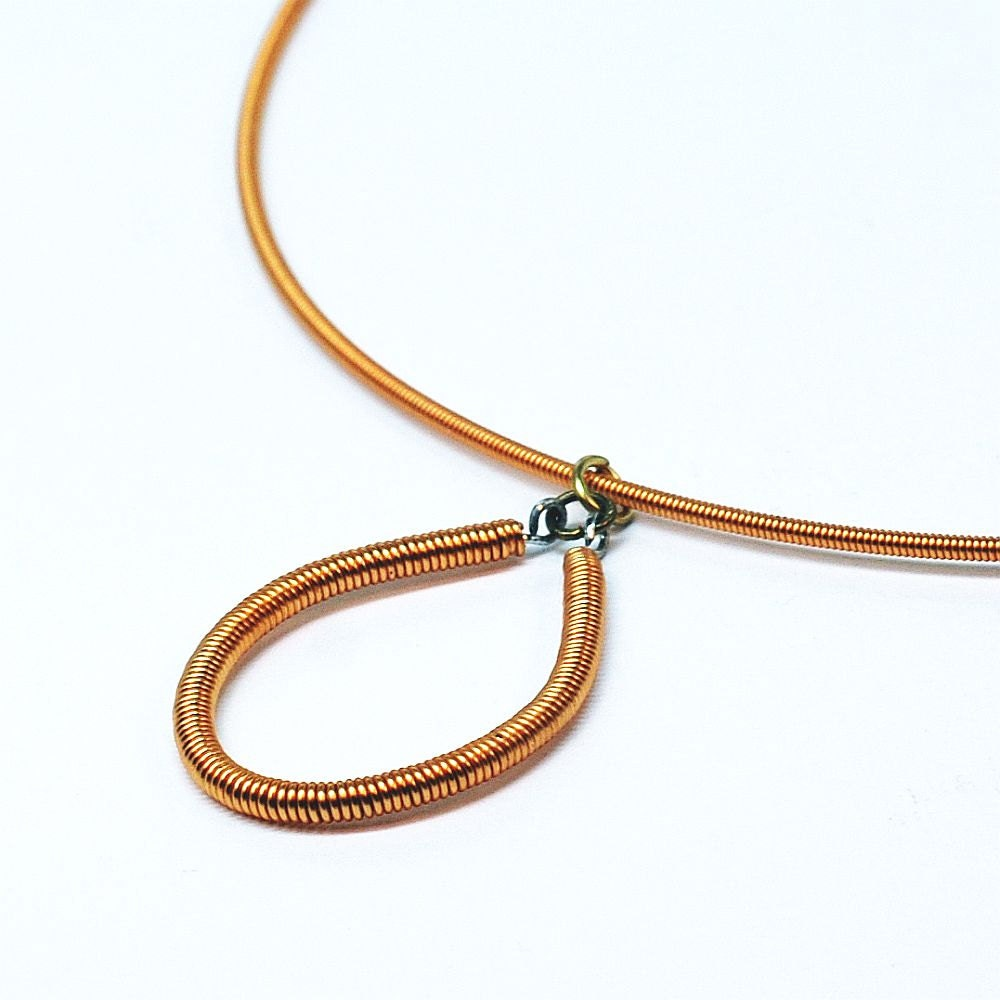 guitar string jewelry upcycled copper bass string necklace. Black Bedroom Furniture Sets. Home Design Ideas