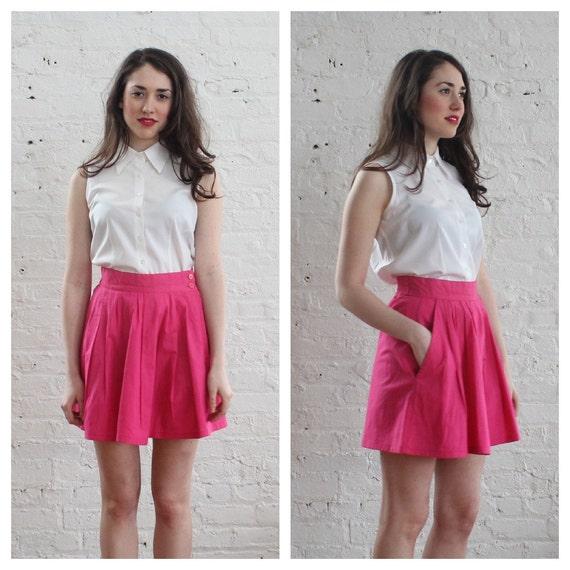 80s hot pink mini skirt / 1980s full pocket by brownbagvintage