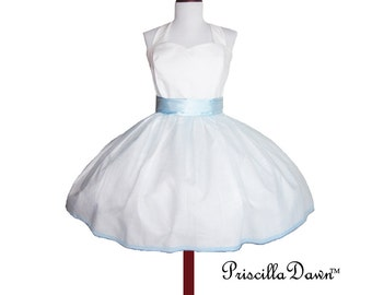 White Wedding Dress in cotton rockabilly style with blue Alice in Wonderland accented Custom in Your Size Polkadot Party Dress