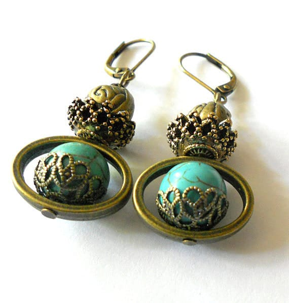 Turquoise gypsy earrings, antiqued brass and turquoise unique dangle earrings, Bohemian ethnic jewelry