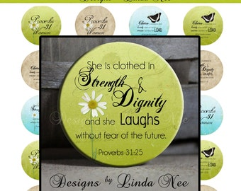 Pinback BUTTON Images 1.25 inch round 1.629 overall - CHRISTian Proverbs 31 Woman Digital Collage Sheet AMERICAN BUTTON Machine and Tecre