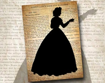Digital Download Victorian Silhouette Godey's Lady's Book 1864 5 x 7 Printable Instant Download The Adolphe SIL101